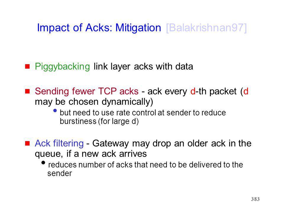 Impact of Acks: Mitigation [Balakrishnan97]